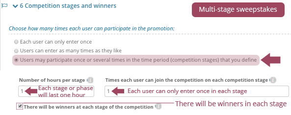 Competition stages and winners
