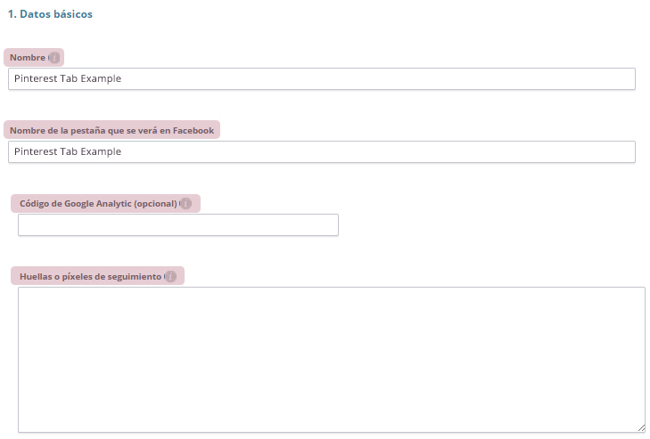 Datos básicos Pinterest Tab