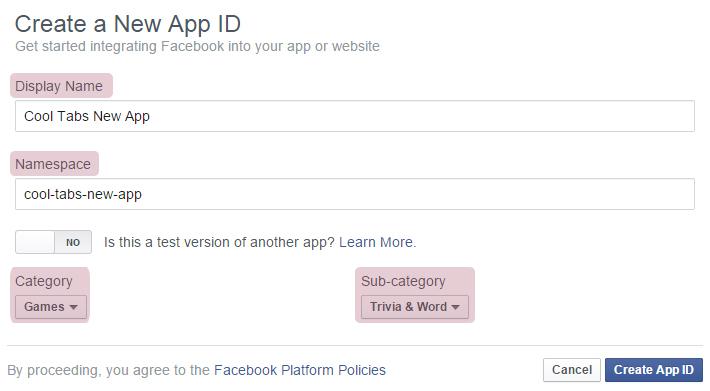 Create New App ID