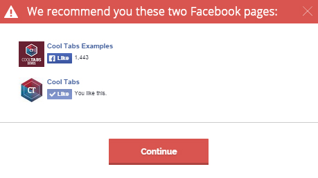 Recommend Facebook pages to your participants