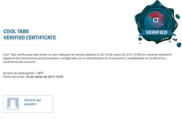 Certificado de validez de Cool Tabs