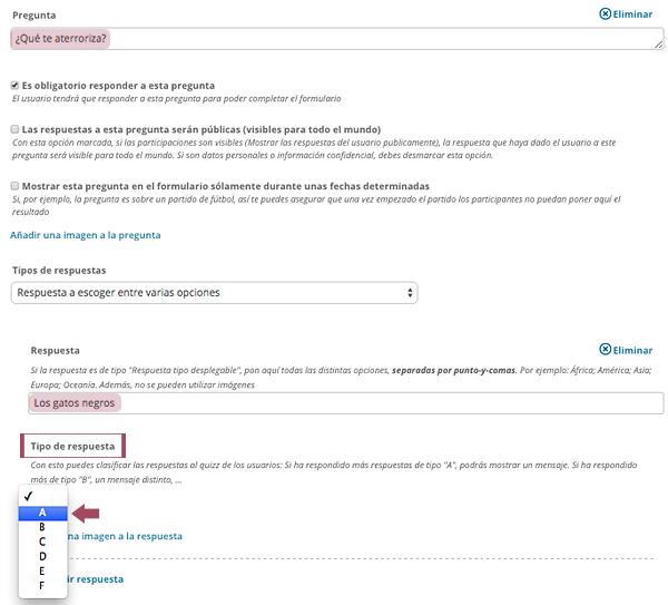 Elegir una categoría para cada respuesta del formulario