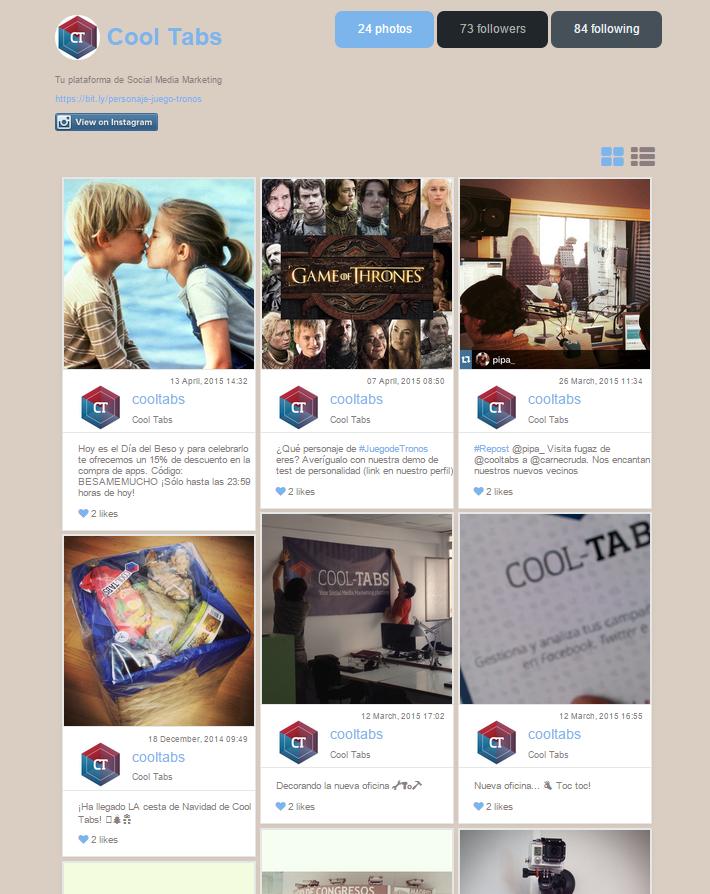 Instagram Tab de Cool Tabs