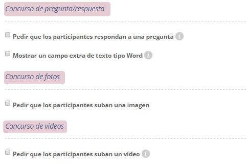 Configuración del formulario de participación: Tipo de concursos