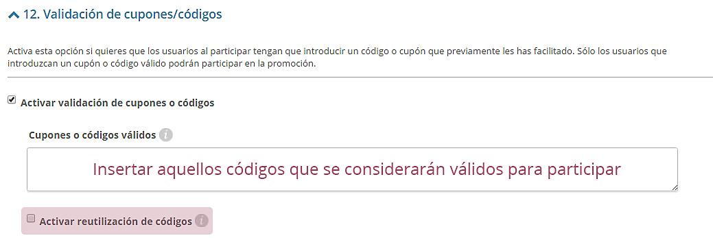Configurar validación de códigos